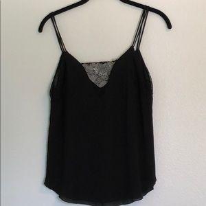 Zara Black Lace Detail Tank Top Size Small S